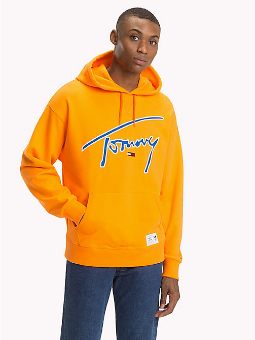 TOMMY JEANS Signature Cotton Hoodie - ORANGE PEEL - TOMMY JEANS Sweatshirts & Hoodies - main image