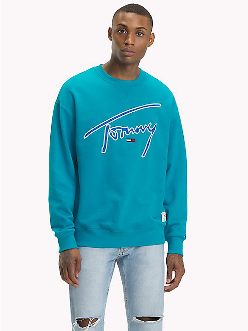 TOMMY JEANS Sweat emblématique col ras-du-cou - ENAMEL BLUE - TOMMY JEANS Signature Collection - image principale