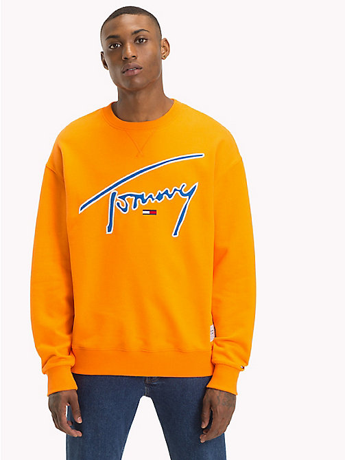TOMMY JEANS Signature Crew Neck Sweatshirt - ORANGE PEEL - TOMMY JEANS Signature Collection - main image