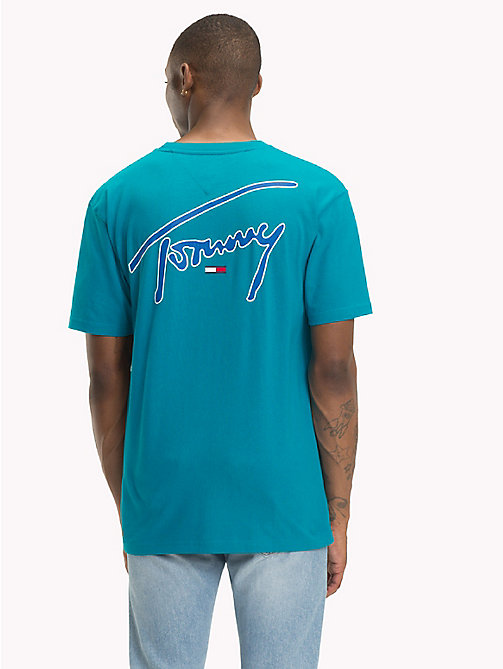 TOMMY JEANS Signature Crew Neck T-Shirt - ENAMEL BLUE - TOMMY JEANS Signature Collection - detail image 1