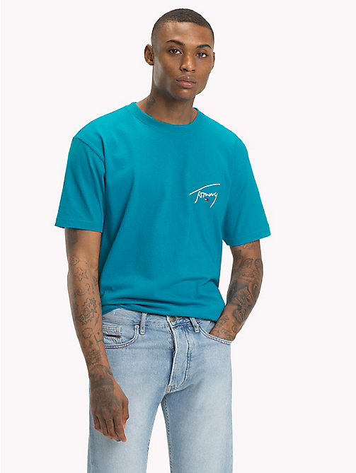 TOMMY JEANS Tommy-T-Shirt mit Rundhalsausschnitt - ENAMEL BLUE - TOMMY JEANS Signature Collection - main image