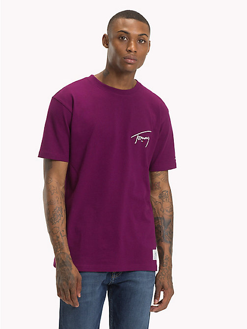TOMMY JEANS Tommy-T-Shirt mit Rundhalsausschnitt - DARK PURPLE - TOMMY JEANS Signature Collection - main image