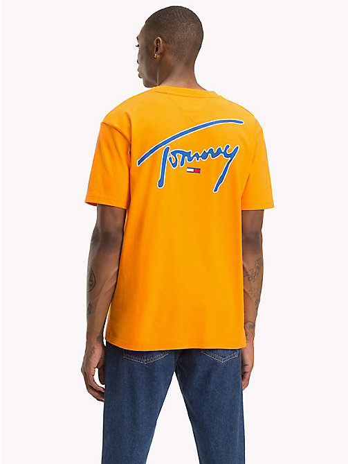 TOMMY JEANS Tommy-T-Shirt mit Rundhalsausschnitt - ORANGE PEEL - TOMMY JEANS Signature Collection - main image 1