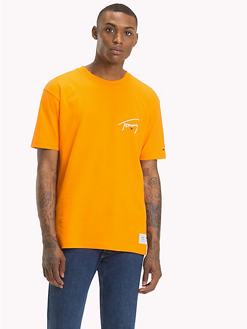 TOMMY JEANS Signature Crew Neck T-Shirt - ORANGE PEEL - TOMMY JEANS Signature Collection - main image