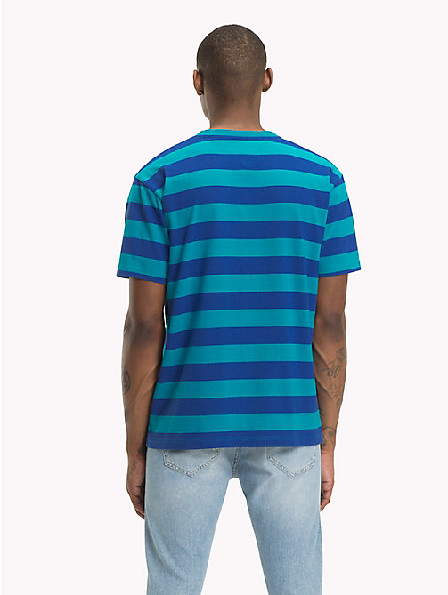 TOMMY JEANS Signature Stripe T-Shirt - ENAMEL BLUE / SURF THE WEB - TOMMY JEANS Signature Collection - detail image 1