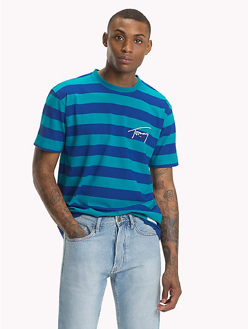 TOMMY JEANS Signature Stripe T-Shirt - ENAMEL BLUE / SURF THE WEB - TOMMY JEANS Signature Collection - main image