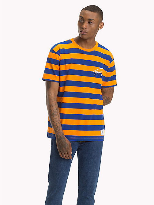 TOMMY JEANS Signature Stripe T-Shirt - ORANGE PEEL / SURF THE WEB - TOMMY JEANS Signature Collection - main image