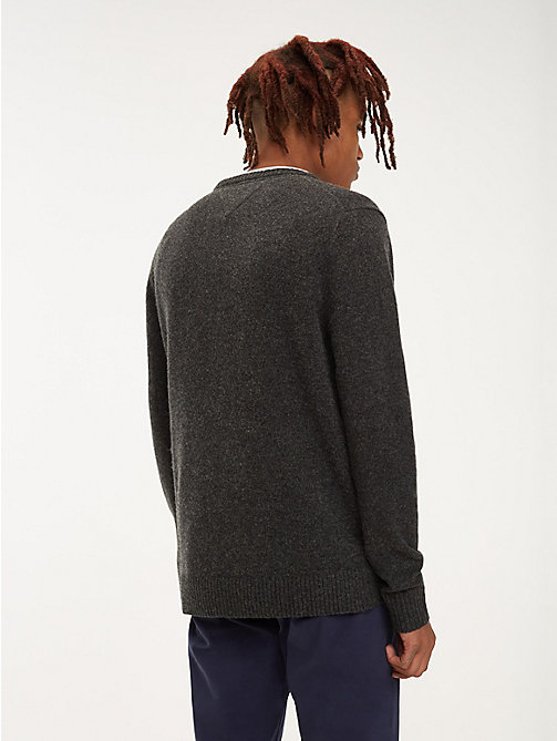 TOMMY JEANS Pure Wool Jumper - DARK GREY HTR - TOMMY JEANS Knitwear - detail image 1