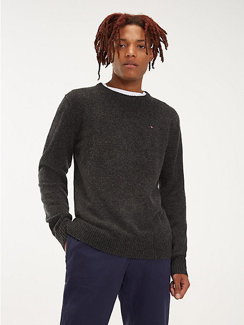 TOMMY JEANS Pure Wool Jumper - DARK GREY HTR - TOMMY JEANS Knitwear - main image