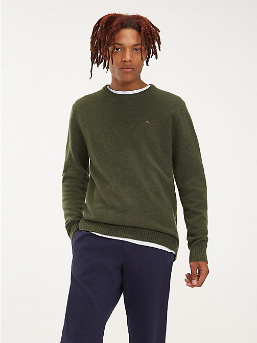 TOMMY JEANS Pure Wool Jumper - FOREST NIGHT - TOMMY JEANS Knitwear - main image