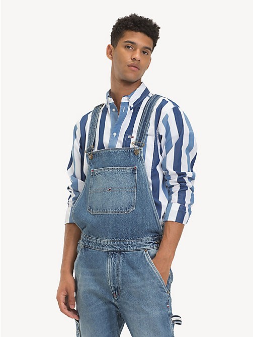 TOMMY JEANS Regular Fit Canvas Label Dungarees - PARK LIGHT BL RIG - TOMMY JEANS Jeans - main image