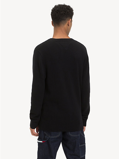 TOMMY JEANS Organic Cotton Logo Jumper - TOMMY BLACK - TOMMY JEANS Sustainable Evolution - detail image 1