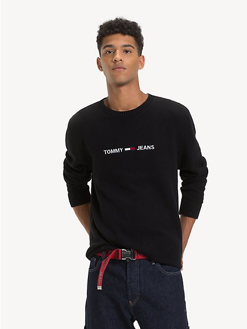 TOMMY JEANS Pullover aus Bio-Baumwolle mit Logo - TOMMY BLACK - TOMMY JEANS Sustainable Evolution - main image