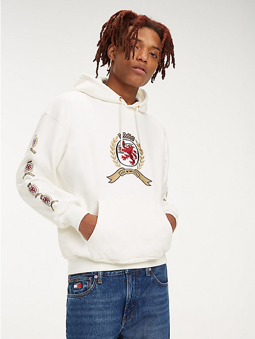 TOMMY JEANS Repeat Crest Logo Hoody - CLOUD DANCER - TOMMY JEANS TOMMY JEANS Capsule - main image