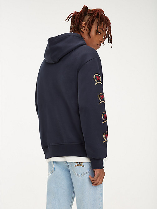 TOMMY JEANS Repeat Crest Logo Hoody - DARK SAPPHIRE - TOMMY JEANS TOMMY JEANS Capsule - detail image 1