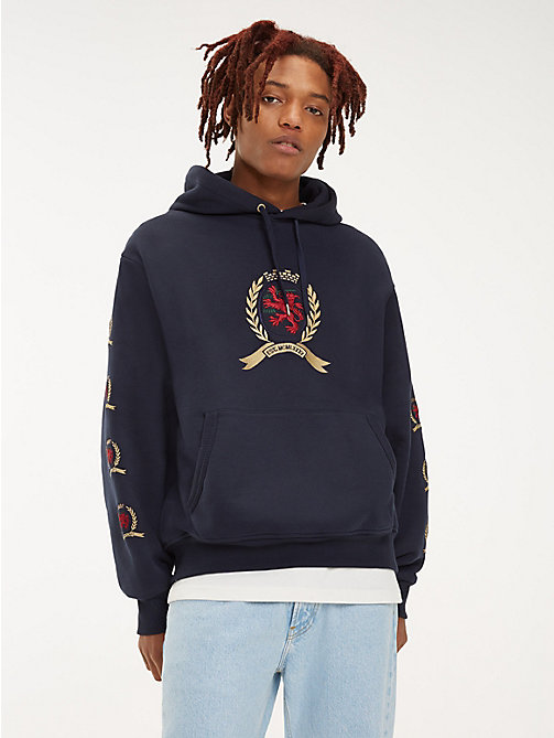 TOMMY JEANS Repeat Crest Logo Hoody - DARK SAPPHIRE - TOMMY JEANS TOMMY JEANS Capsule - main image