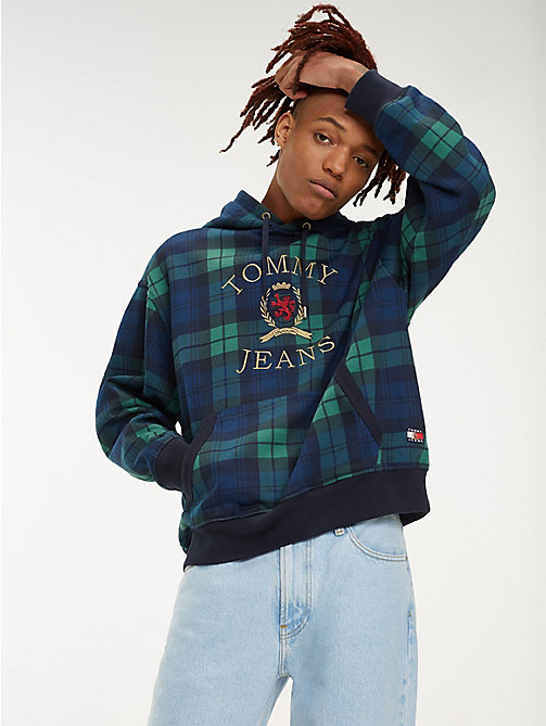 TOMMY JEANS Plaid Crest Logo Hoody - CHECK DARK SAPPHIRE / MULTI - TOMMY JEANS TOMMY JEANS Capsule - main image
