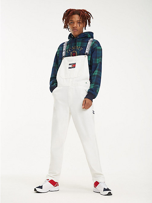 TOMMY JEANS Crest Flag Denim Dungarees - CLOUD DANCER - TOMMY JEANS TOMMY JEANS Capsule - main image