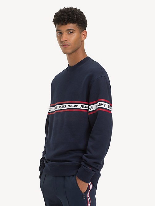 TOMMY JEANS Regular fit sweatshirt met logotape - BLACK IRIS - TOMMY JEANS Sweatshirts & Hoodies - main image