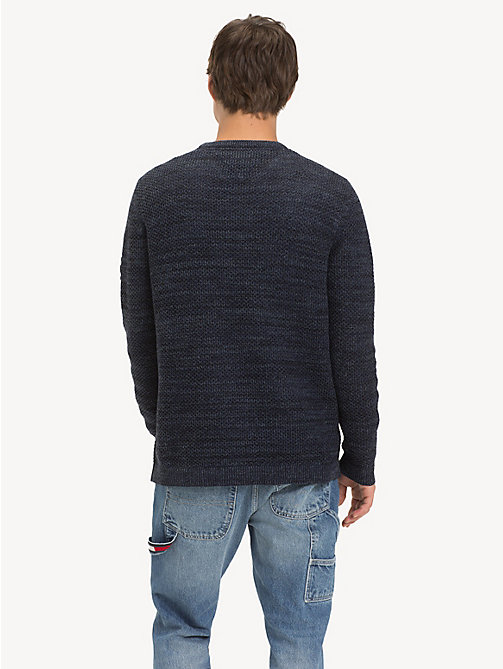 TOMMY JEANS Tonal Textured Jumper - BLACK IRIS - TOMMY JEANS Knitwear - detail image 1