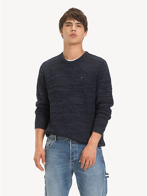 TOMMY JEANS Pullover aus farblich abgestimmtem Strukturstrick - BLACK IRIS - TOMMY JEANS Pullover - main image