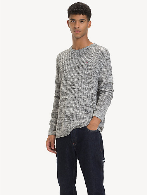 TOMMY JEANS Pullover aus farblich abgestimmtem Strukturstrick - LT GREY HTR - TOMMY JEANS Pullover - main image