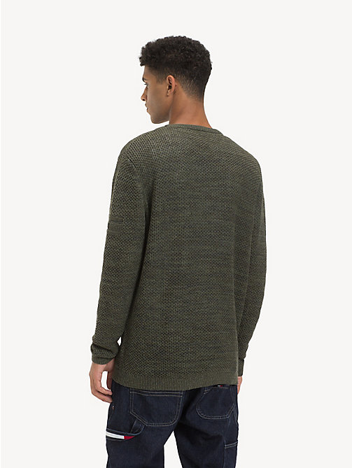 TOMMY JEANS Tonal Textured Jumper - FOREST NIGHT - TOMMY JEANS Knitwear - detail image 1
