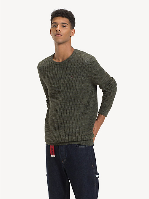 TOMMY JEANS Tonal Textured Jumper - FOREST NIGHT - TOMMY JEANS Knitwear - main image
