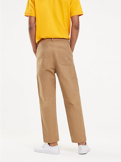 TOMMY JEANS Knee Patch Cotton Trousers - TIGER'S EYE - TOMMY JEANS Trousers & Shorts - detail image 1