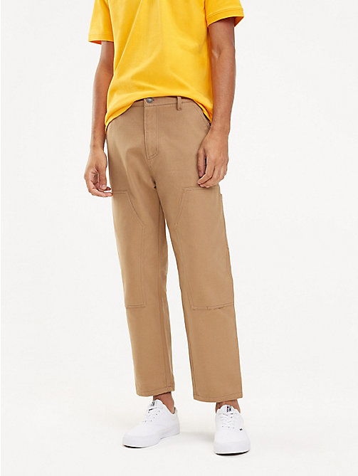 TOMMY JEANS Knee Patch Cotton Trousers - TIGER'S EYE - TOMMY JEANS Trousers & Shorts - main image