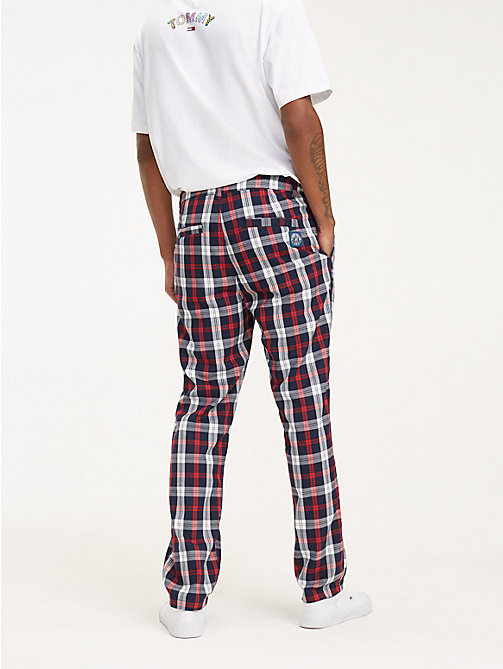 TOMMY JEANS Plaid Check Relaxed Fit Chinos - BLACK IRIS - TOMMY JEANS Trousers & Shorts - detail image 1