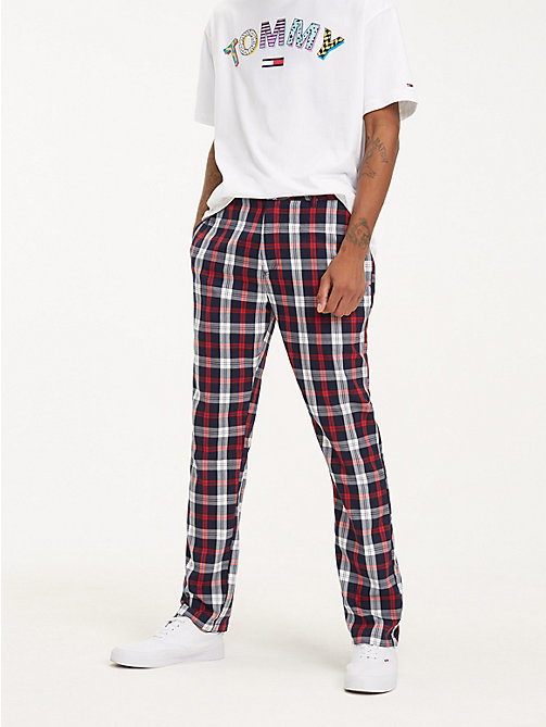 TOMMY JEANS Plaid Check Relaxed Fit Chinos - BLACK IRIS - TOMMY JEANS Trousers & Shorts - main image