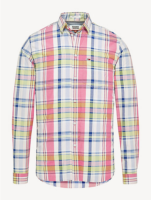 TOMMY JEANS Essential Pure Cotton Check Shirt - FUCHSIA PURPLE / MULTI - TOMMY JEANS Shirts - detail image 1