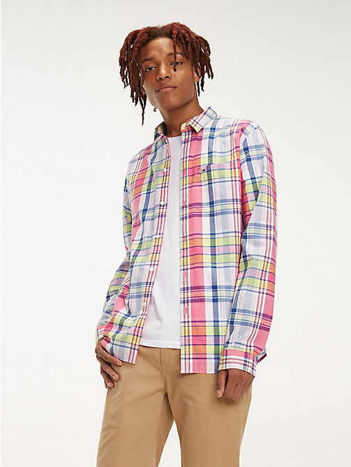 TOMMY JEANS Essential Pure Cotton Check Shirt - FUCHSIA PURPLE / MULTI - TOMMY JEANS Shirts - main image