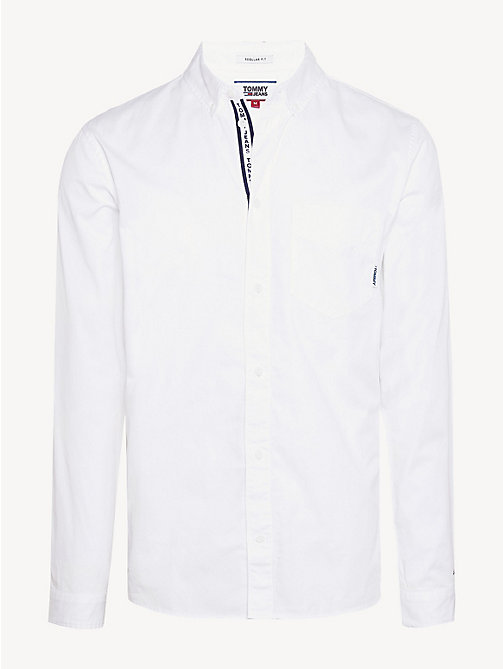 TOMMY JEANS Cotton Twill Regular Fit Shirt - CLASSIC WHITE - TOMMY JEANS Shirts - detail image 1