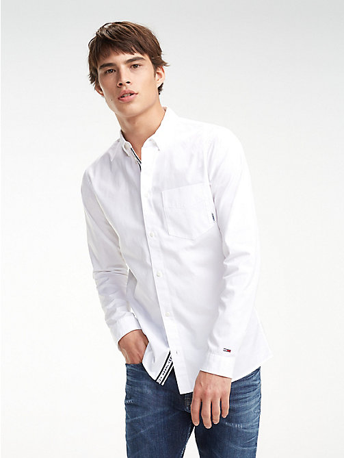 TOMMY JEANS Cotton Twill Regular Fit Shirt - CLASSIC WHITE - TOMMY JEANS Shirts - main image