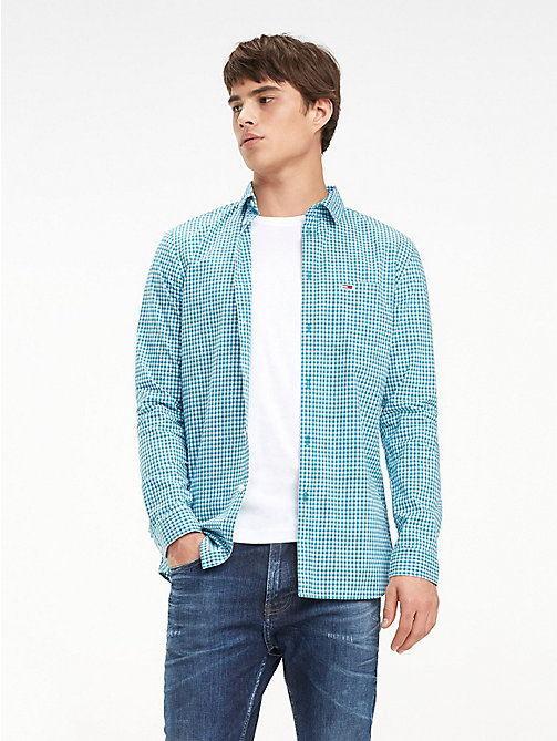 TOMMY JEANS Essential Check Slim Fit Shirt - DYNASTY GREEN / MULTI - TOMMY JEANS Shirts - main image