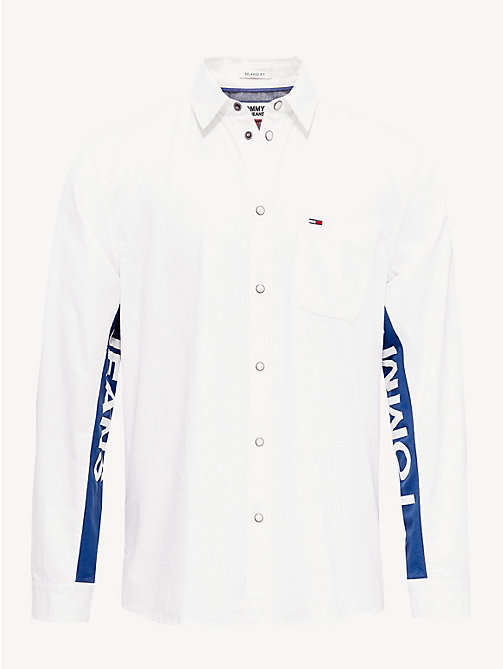 TOMMY JEANS Logo Sleeve Shirt - WHITE DENIM - TOMMY JEANS Shirts - detail image 1