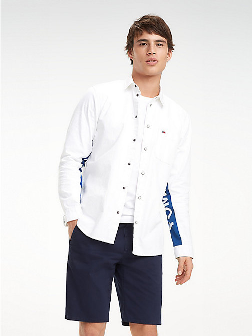 TOMMY JEANS Logo Sleeve Shirt - WHITE DENIM - TOMMY JEANS Shirts - main image