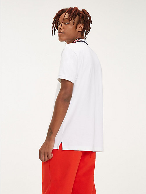 TOMMY JEANS Logo Collar Cotton Polo - CLASSIC WHITE - TOMMY JEANS T-Shirts & Polos - detail image 1