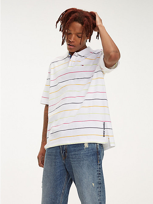 TOMMY JEANS Multicolour Fine Stripe Cotton Polo - CLASSIC WHITE/MULTI - TOMMY JEANS T-Shirts & Polos - main image