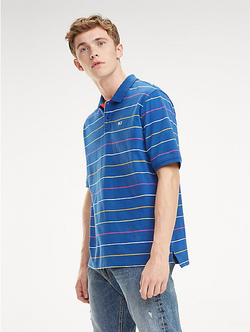 TOMMY JEANS Multicolour Fine Stripe Cotton Polo - LIMOGES / MULTI - TOMMY JEANS T-Shirts & Polos - main image