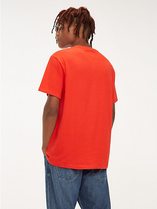 TOMMY JEANS Organic Cotton Round Neck T-Shirt - FLAME SCARLET - TOMMY JEANS T-Shirts & Polos - detail image 1