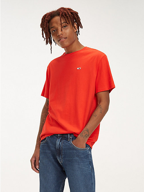 TOMMY JEANS Organic Cotton Round Neck T-Shirt - FLAME SCARLET - TOMMY JEANS T-Shirts & Polos - main image