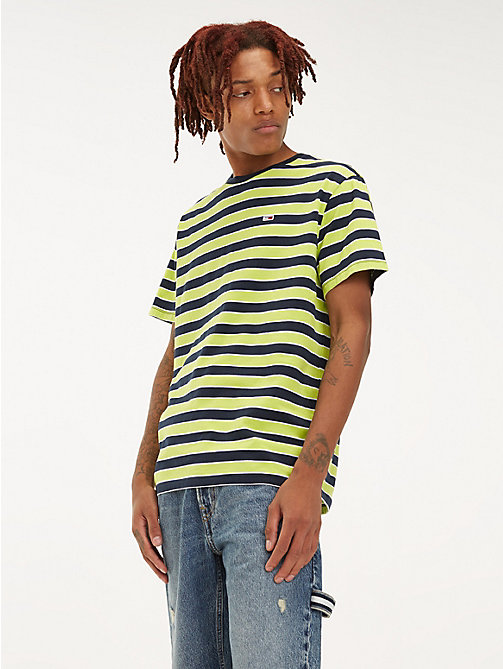 TOMMY JEANS Organic Cotton All-Over Stripe T-Shirt - ACID LIME / MULTI - TOMMY JEANS T-Shirts & Polos - main image