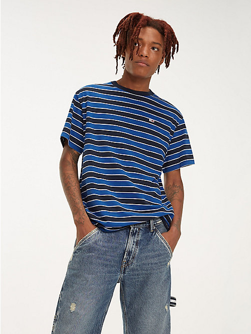 TOMMY JEANS Organic Cotton All-Over Stripe T-Shirt - LIMOGES / MULTI - TOMMY JEANS T-Shirts & Polos - main image