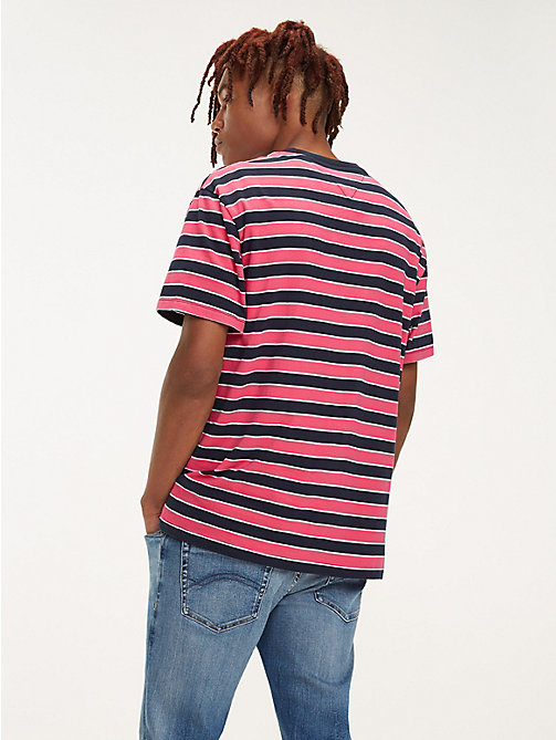 TOMMY JEANS Organic Cotton All-Over Stripe T-Shirt - FUCHSIA PURPLE / MULTI - TOMMY JEANS T-Shirts & Polos - detail image 1