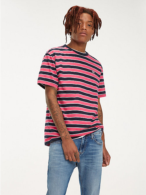 TOMMY JEANS Organic Cotton All-Over Stripe T-Shirt - FUCHSIA PURPLE / MULTI - TOMMY JEANS T-Shirts & Polos - main image