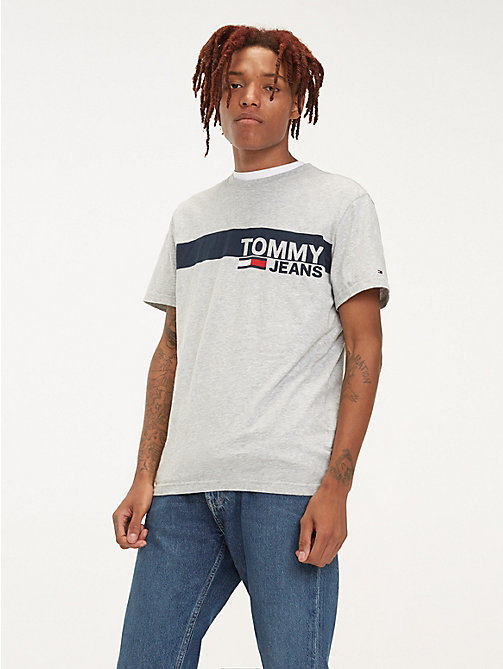 TOMMY JEANS Essential Organic Cotton T-Shirt - LT GREY HTR - TOMMY JEANS T-Shirts & Polos - main image