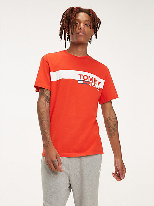 TOMMY JEANS Essential Organic Cotton T-Shirt - FLAME SCARLET - TOMMY JEANS T-Shirts & Polos - main image